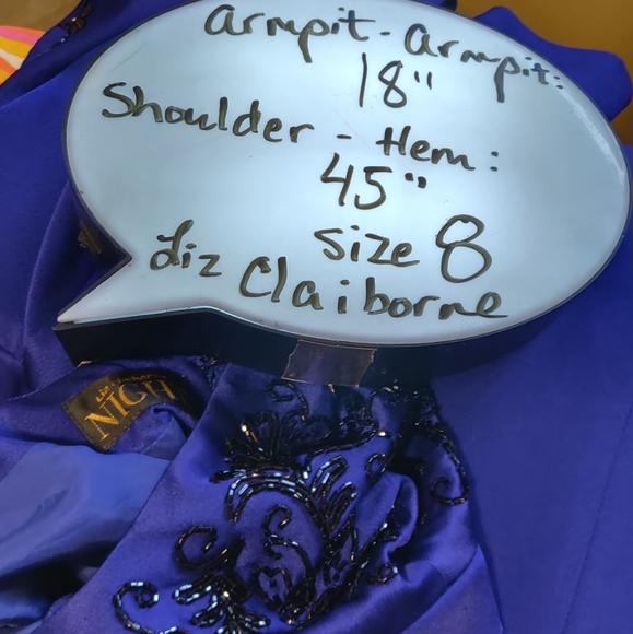 Liz Claiborne NIGHT Flower Beaded Dress Black Evening Dress M10 Rainbow Beads